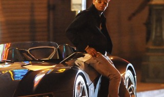 Singer Chris Brown hops out of a sports car on the set of his new music video 'Liquor' filming in downtown Los Angeles  Featuring: Chris Brown Where: Los Angeles, California, United States When: 05 Aug 2015 Credit: Cousart/JFXimages/WENN.com